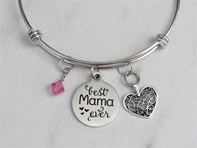 Best Mama Ever Adjustable Bangle Charm Bracelet with Silver Heart & Swarovski Birthstone, Mother's Day, Gift for Mom, Laser Engraved