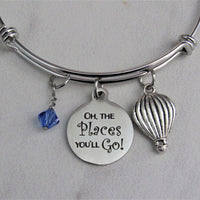 Oh The Places You'll Go! Charm Bracelet w/ Air Balloon Charm & Swarovski Birthstone, Graduation Gift