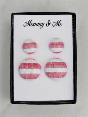 Mommy & Me Fabric Stud Earrings, Mother & Daughter Red and White Stripes Matching Earrings, Great for Newly Pierced Ears