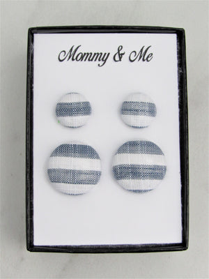 Mommy & Me Fabric Stud Earrings, Mother & Daughter Navy and White Stripes Matching Earrings, Great for Newly Pierced Ears