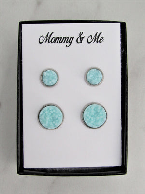 Mommy & Me Druzy Stud Earrings, Mother & Daughter Arctic Blue Matching Earrings, Great for Newly Pierced Ears