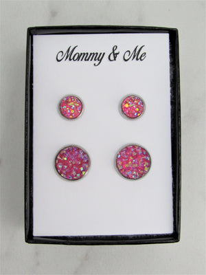 Mommy & Me Druzy Stud Earrings, Mother & Daughter Pink Sparkle Matching Earrings, Great for Newly Pierced Ears