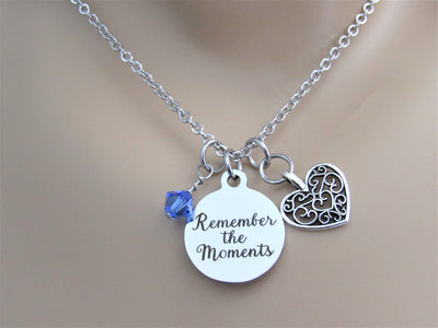 Remember The Moments Stainless Steel Laser Engraved Necklace With Silver Heart Charm and Swarovski Birthstone, Graduation or New Journey