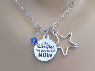 The Adventure Starts Now Stainless Steel Laser Engraved Necklace With Silver Star Charm and Swarovski Birthstone, Graduation or New Journey