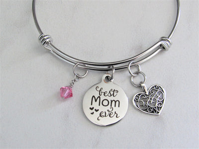 Best Mom Ever Adjustable Bangle Charm Bracelet with Silver Heart & Swarovski Birthstone, Mother's Day, Gift for Mom, Laser Engraved