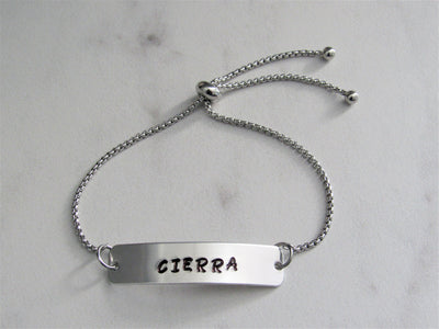 Adjustable  Personalized Bar Name Bracelet