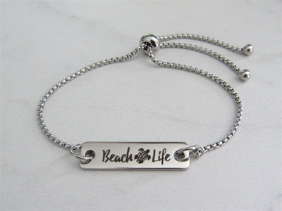 Beach Life Turtle Adjustable Bracelet, Laser Engraved