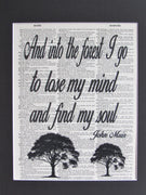 And Into The Forest I Go To Lose My Mind & Find My Soul Printed On A Vintage Dictionary Page, John Muir Quote, Wall Décor Frame Not Included