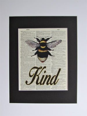 Bee Kind Printed On An Upcycled Vintage Dictionary Page, Honeybee Wall Décor, Frame Not Included