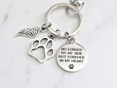 No Longer By My Side But Forever In My Heart Stainless Steel Keychain With Silver Angel Wing & Paw Print Charm, Pet Loss, Dog Loss, Memorial