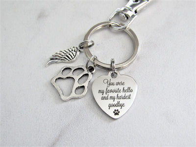 You Were My Favorite Hello and My Hardest Goodbye Stainless Steel Heart Keychain With Silver Angel Wing Charm, Memorial Keychain, Pet Loss, Dog Loss