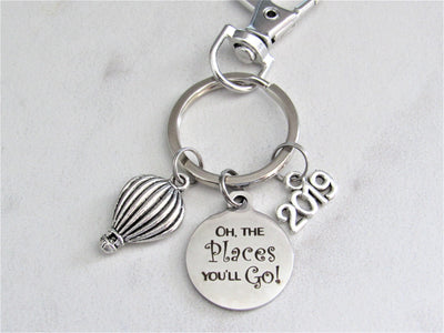 Oh The Places You'll Go Stainless Steel Circle Keychain With Silver Air Balloon Charm, Graduation Keychain, New Journey Keychain