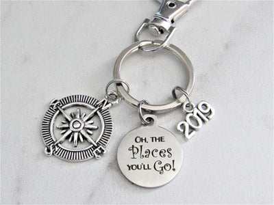 Oh The Places You'll Go Stainless Steel Circle Keychain With Silver Compass Charm, Graduation Keychain, New Journey Keychain