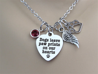 Dogs Leave Paw Prints On Our Hearts Heart Necklace w/ Paw Print & Birthstone, Laser Engraved
