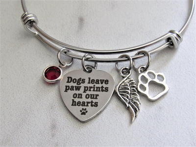 Dogs Leave Paw Prints On Our Hearts Charm Bracelet Paw Print & Birthstone, Laser Engraved
