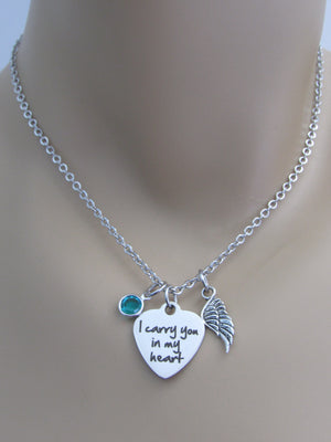 I Carry You In My Heart Laser Engraved Heart Necklace w/ Angel Wing & Swarovski Birthstone