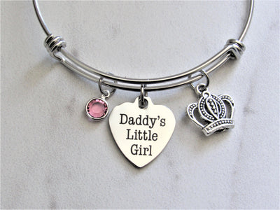 Daddy's Little Girl Charm Bracelet w/ Crown Charm & Swarovski Birthstone, Laser Engraved