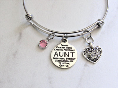 Aunt Bangle Charm Bracelet With Heart Charm & Swarovski Birthstone, Laser Engraved
