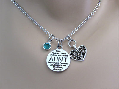 Aunt Necklace With Silver Heart Charm and Swarovski Birthstone, Laser Engraved