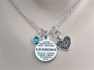 Grandma Necklace With Heart Charm and Swarovski Birthstone Crystal, Laser Engraved