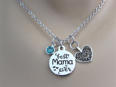 Best Mama Ever Necklace w/ Heart Charm & Swarovski Birthstone Bead, Gift for Mom, Laser Engraved