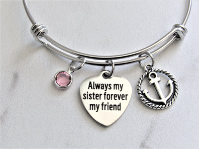 Always My Sister Forever My Friend Charm Bracelet W/ Anchor Charm & Swarovski Bead, Laser Engraved