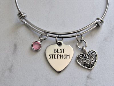 Best Stepmom Bangle Charm Bracelet w/ Heart Charm and Swarovski Birthstone, Laser Engraved