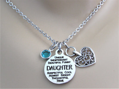 Daughter Necklace With Silver Heart Charm and Swarovski Birthstone, Laser Engraved