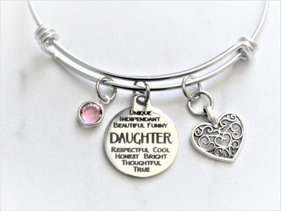 Daughter Charm Bracelet With Heart Charm & Swarovski Birthstone Crystal, Laser Engraved