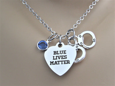 Blue Lives Matter Heart Necklace w/ Handcuff Charm & Blue Swarovski Bead, Laser Engraved