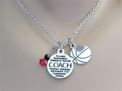 Basketball Coach Necklace With Silver Basketball and Swarovski Crystal Team Colors, Gift for Coach, Laser Engraved