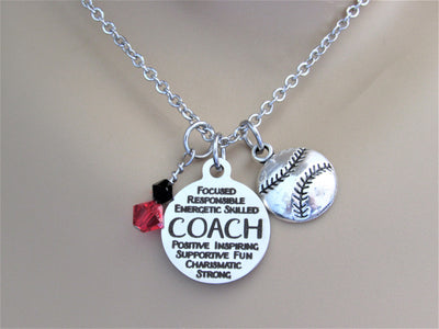 Baseball Softball Coach Necklace w/ Volleyball Charm and Swarovski Team Colors,  Gift for Coach, Laser Engraved