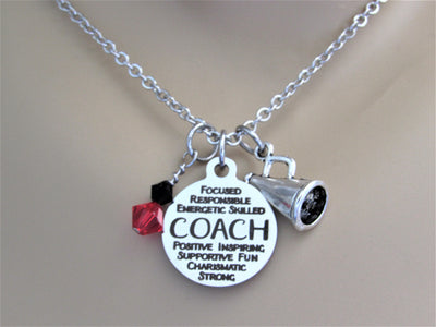 Cheerleading Coach Necklace With Silver Megaphone and Swarovski Team Colors, Laser Engraved