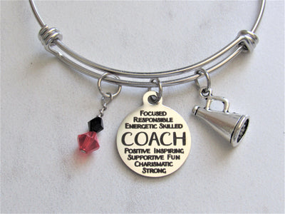 Cheerleading Coach Bracelet w/ Megaphone & Swarovski Bead Team Colors, Laser Engraved