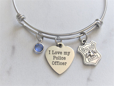I Love My Police Officer Bracelet w/ Police Shield Charm & Blue Swarovski Bead, Police Wife Keepsake, Laser Engraved