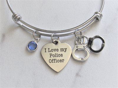 I Love My Police Officer Bracelet w/ Handcuff Charm & Blue Swarovski Bead, Laser Engraved