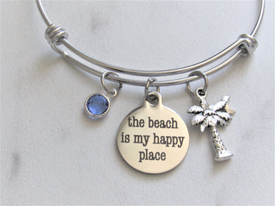 The Beach Is My Happy Place Charm Bracelet, Palm Tree Charm & Swarovski Birthstone