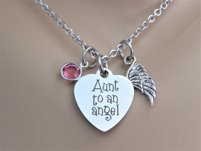 Aunt To An Angel Heart Necklace W/ Angel Wing Charm & Swarovski Birthstone, Laser Engraved