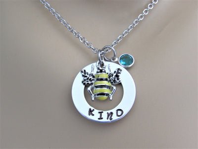 Bee Kind Stamped Necklace with Swarovski Birthstone Bead & Silver Enamel Bee Charm