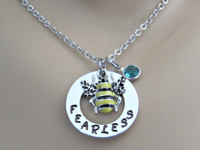Bee Fearless Stamped Necklace with Swarovski Birthstone Bead & Silver Enamel Bee Charm, Handmade Birthday Gift