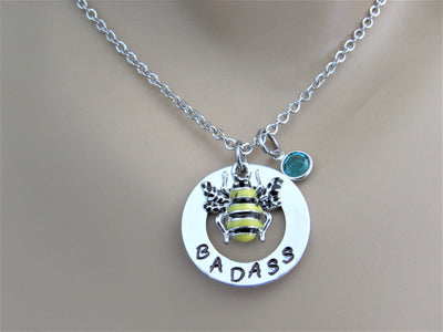 Bee Badass Stamped Necklace with Swarovski Birthstone Bead & Silver Enamel Bee Charm, Handmade Birthday Gift