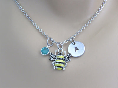 Bee Necklace with Initial Personalized Charm & Swarovski Birthstone Bead, Stainless Steel Personalized Necklace, Birthday Gift Necklace, Stamped Jewelry