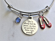 You've Always Had The Power My Dear, You Just Had To Learn It For Yourself Adjustable Bangle Charm Bracelet With Red Ruby Slippers Charm & Swarovski Birthstone Crystal, Wizard of Oz Jewelry