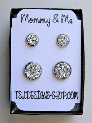 Mommy & Me Druzy Stud Earrings, Mother & Daughter Silver Metallic Sparkle Matching Earrings, Great for Newly Pierced Ears