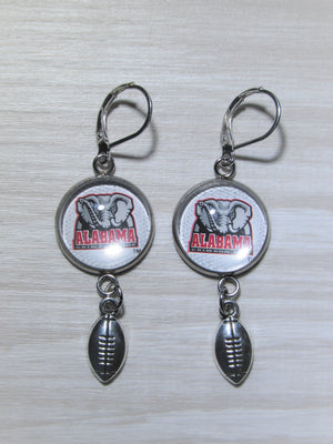 Alabama Crimson Tide Earrings Made From Football Cards, Upcycled Earrings, Great for Game Day, Gift for Mom