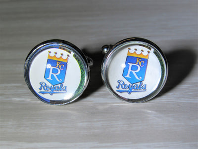 Kansas City Royals Cufflinks made from Baseball Cards, Wedding Gift, Gift for Men, Upcycled Baseball Card Cufflinks,  Gift for Dad
