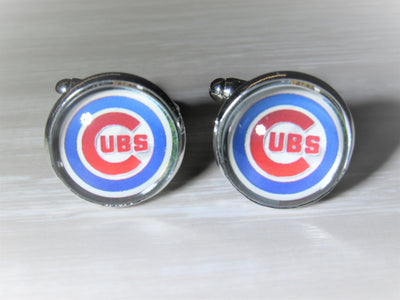 Chicago Cubs Cufflinks made from Baseball Cards, Wedding Gift, Gift for Men, Upcycled Baseball Card Cufflinks,  Gift for Dad