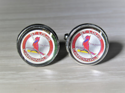St Louis Cardinals Cufflinks made from Baseball Cards, Wedding Gift, Gift for Men, Recycled Baseball Card Cufflinks,  Gift for Dad