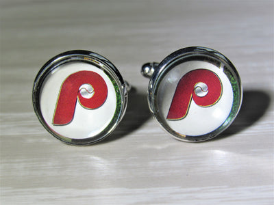 Philadelphia Phillies Cufflinks made from Baseball Cards, Wedding Gift, Gift for Men, Recycled Baseball Card Cufflinks,  Gift for Dad