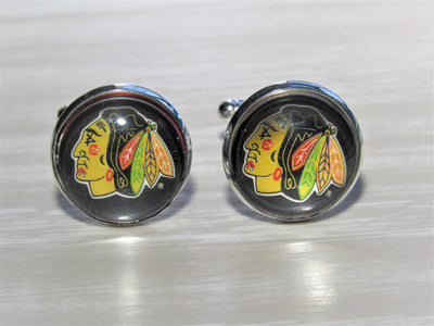Chicago Blackhawks Cufflinks made from Hockey Cards, Wedding Gift, Gift for Men, Recycled Hockey Card Cufflinks,  Gift for Dad